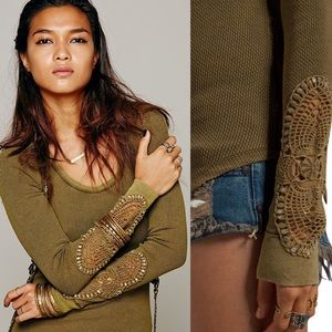 Free People Synergy Crocheted Cuff Thermal Green